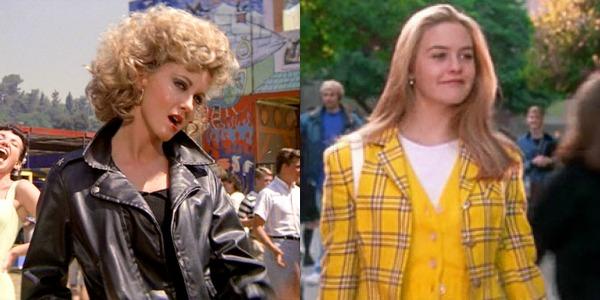 """Cher (Alicia Silverstone), de """"As Patricinhas de Beverly Hills"""" / Sandy (Olivia Newton-John), de """"Grease - Nos Tempos da Brilhantina"""" (1978)"""