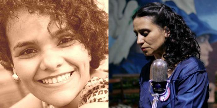 Foto de Olívia de Moraes, vocalista e guitarrista da Anônimos Alhures + Cena de Violeta Foi Para o Céu, de Andrès Wood