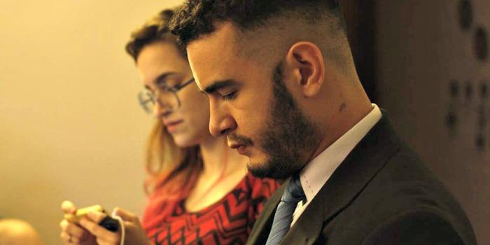 Camila Henriques e Lucas Jardim nos bastidores do Oscar 2016 do Cine Set