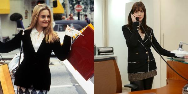 "Andy Sachs (Anne Hathaway), de ""O Diabo Veste Prada"" (2006) e Cher (Alicia Silverstone), de ""As Patricinhas de Beverly Hills"""