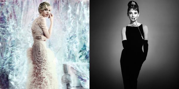 "Daisy Buchanan (Carey Mulligan), em ""O Grande Gatsby"" (2013) / Holly Golightly (Audrey Hepburn), em ""Bonequinha de Luxo"" (1961)"